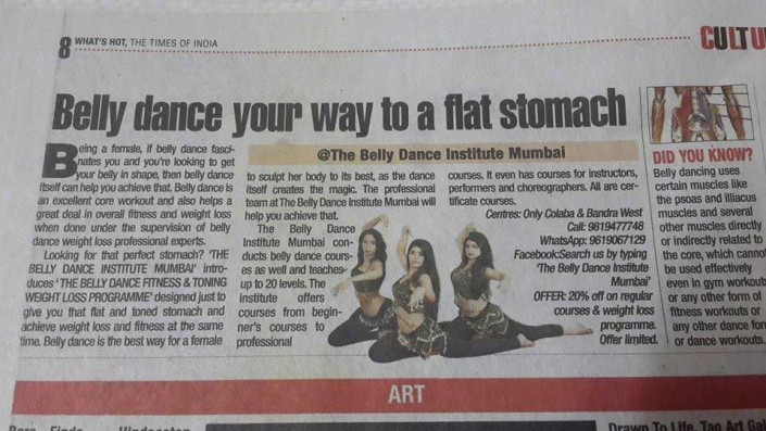 Media coverage of Belly dance institute mumbai