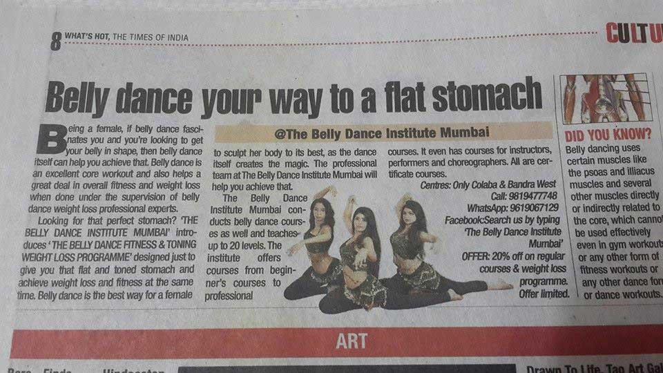 Media coverage of Belly dance institute mumbai