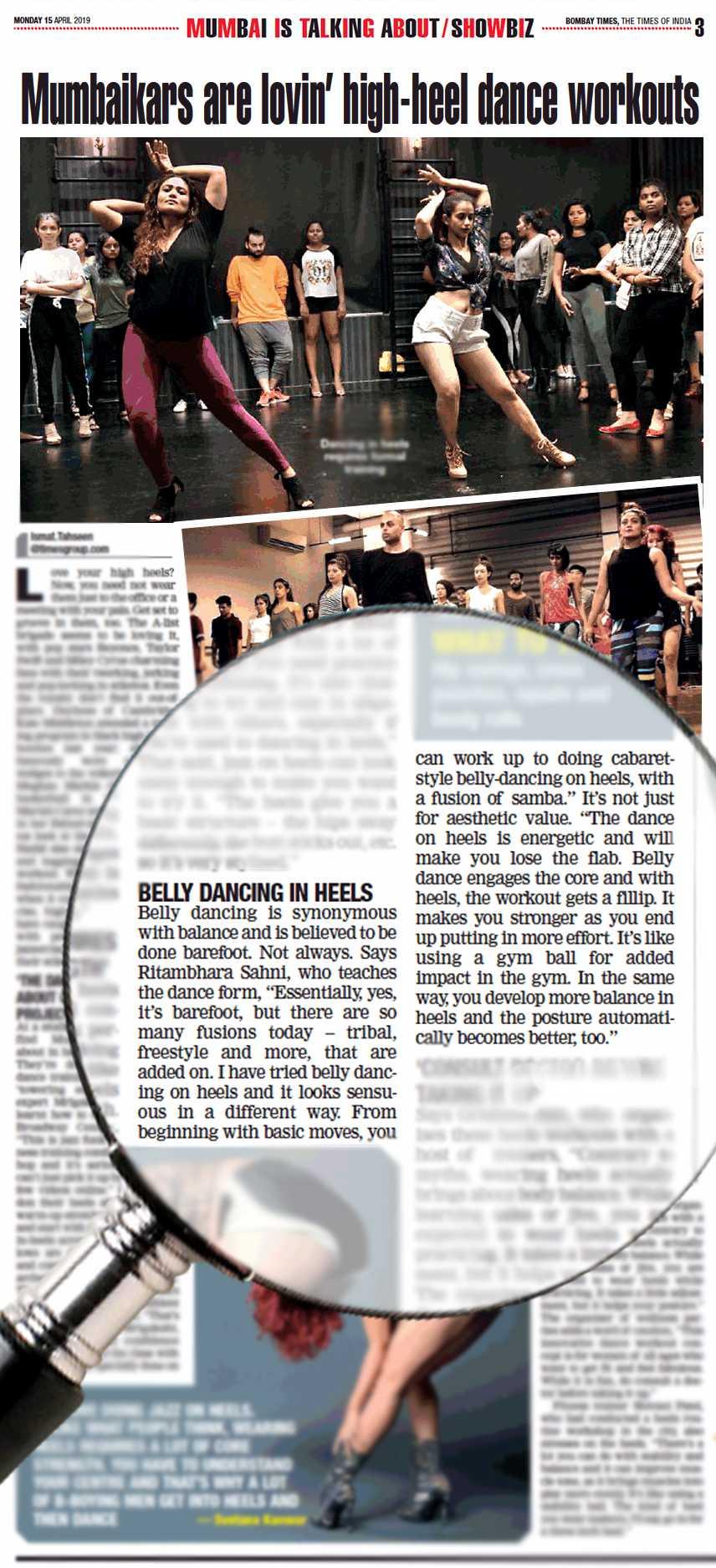 Bombay Times | BELLY DANCE CLASSES IN MUMBAI | BELLY DANCE INSTITUTE MUMBAI BY RITAMBHARA SAHNI